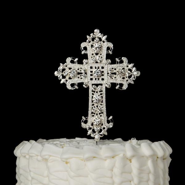 This silver cross cake topper is perfect for your wedding cake on your special day!