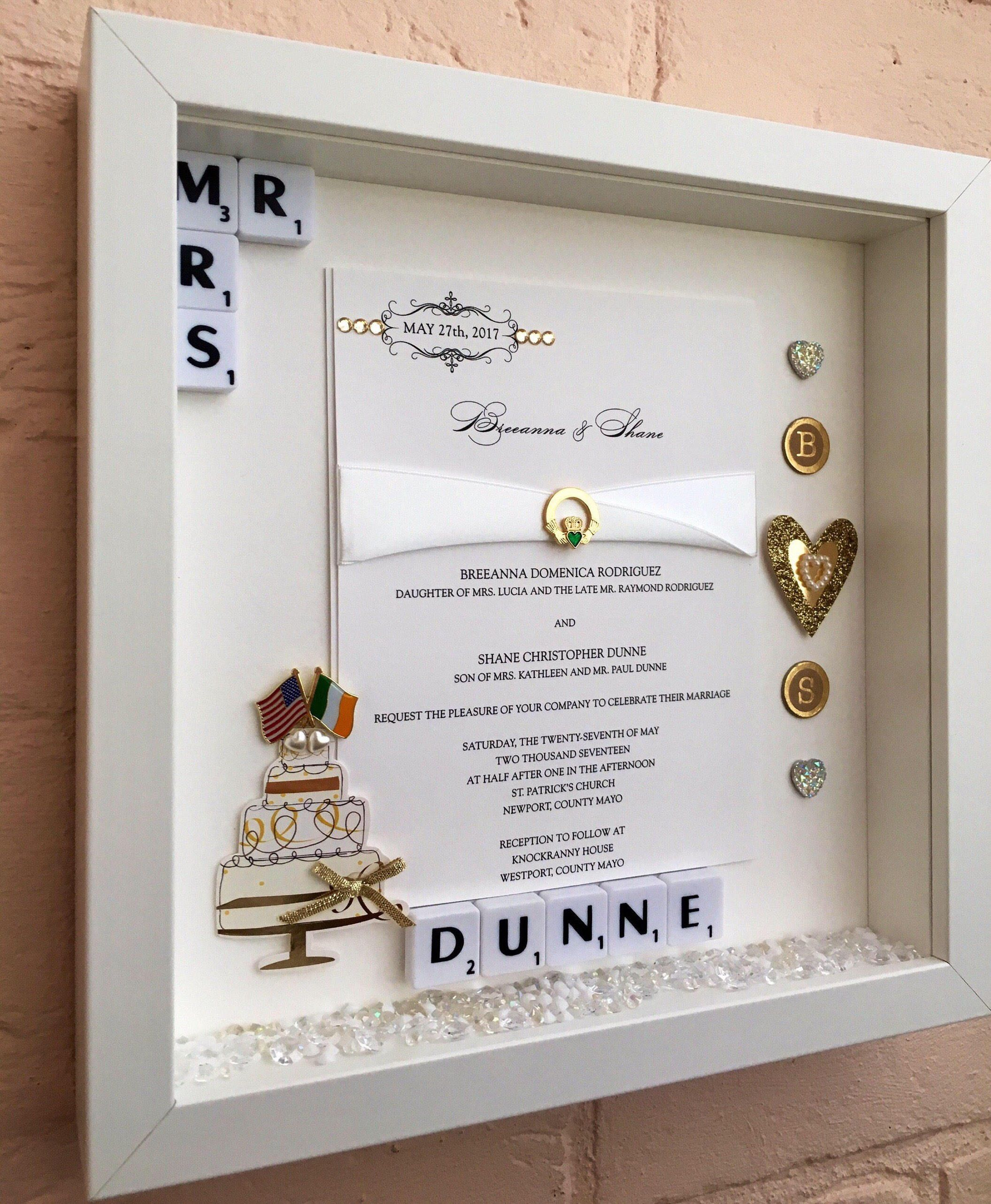 Wedding Memory Frame, Personalised Wedding Gift, Wedding Invitation ...