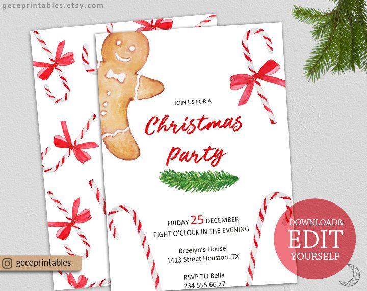Printable christmas invitation template editable pdf instant printable christmas invitation template editable pdf instant download holiday party invite christmas solutioingenieria Images