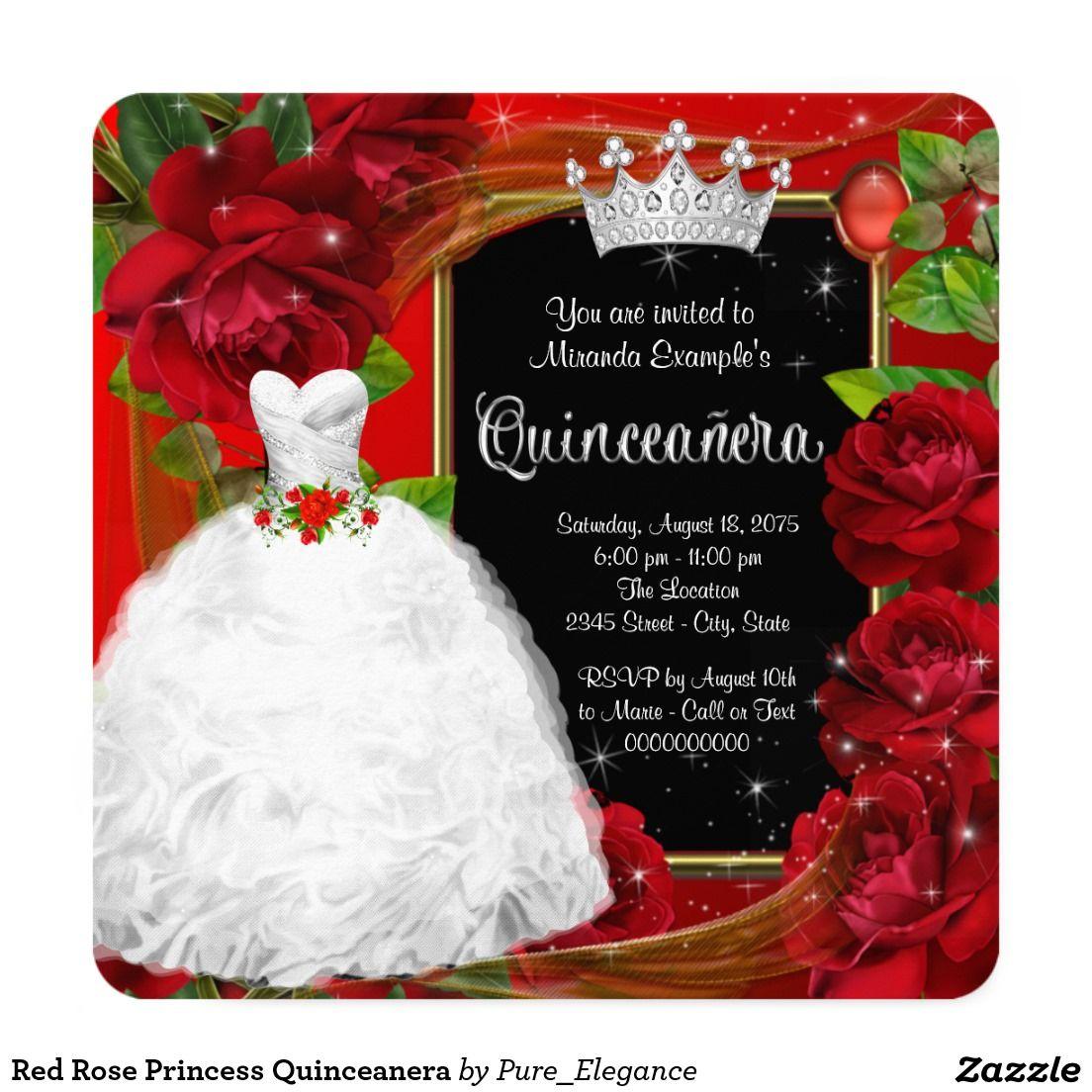 Red Rose Princess Quinceanera Invitation | Quinceañera Invitations ...