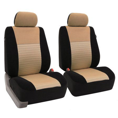 Fh Group Trendy Elegence Airbag Compatible Front Car Seat Covers Pair Beige And Black Bucket Seat Covers Seat Covers Carseat Cover