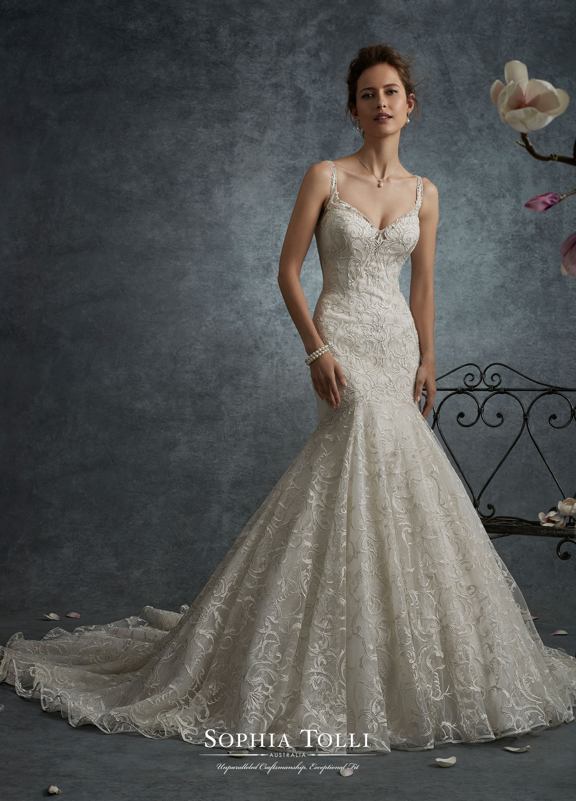 Y21740 Lynx - Sleeveless allover shimmer lace trumpet gown with diamond  illusion straps and sweetheart neckline d84e7d2f3c37