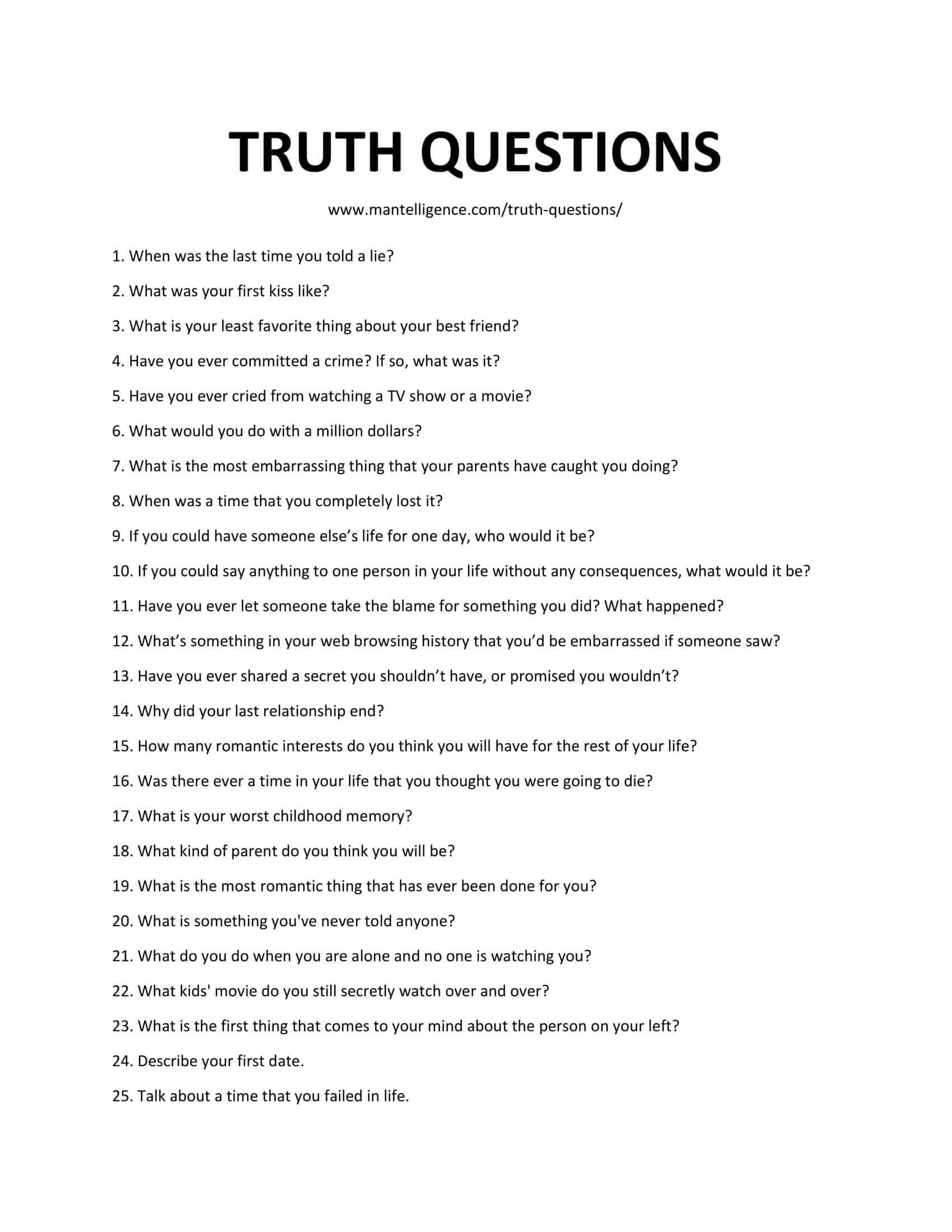 59 Good Truth Questions – Fun, and hard to answer.