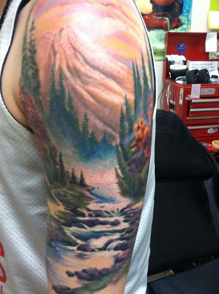 Image result for black and grey landscape tattoos