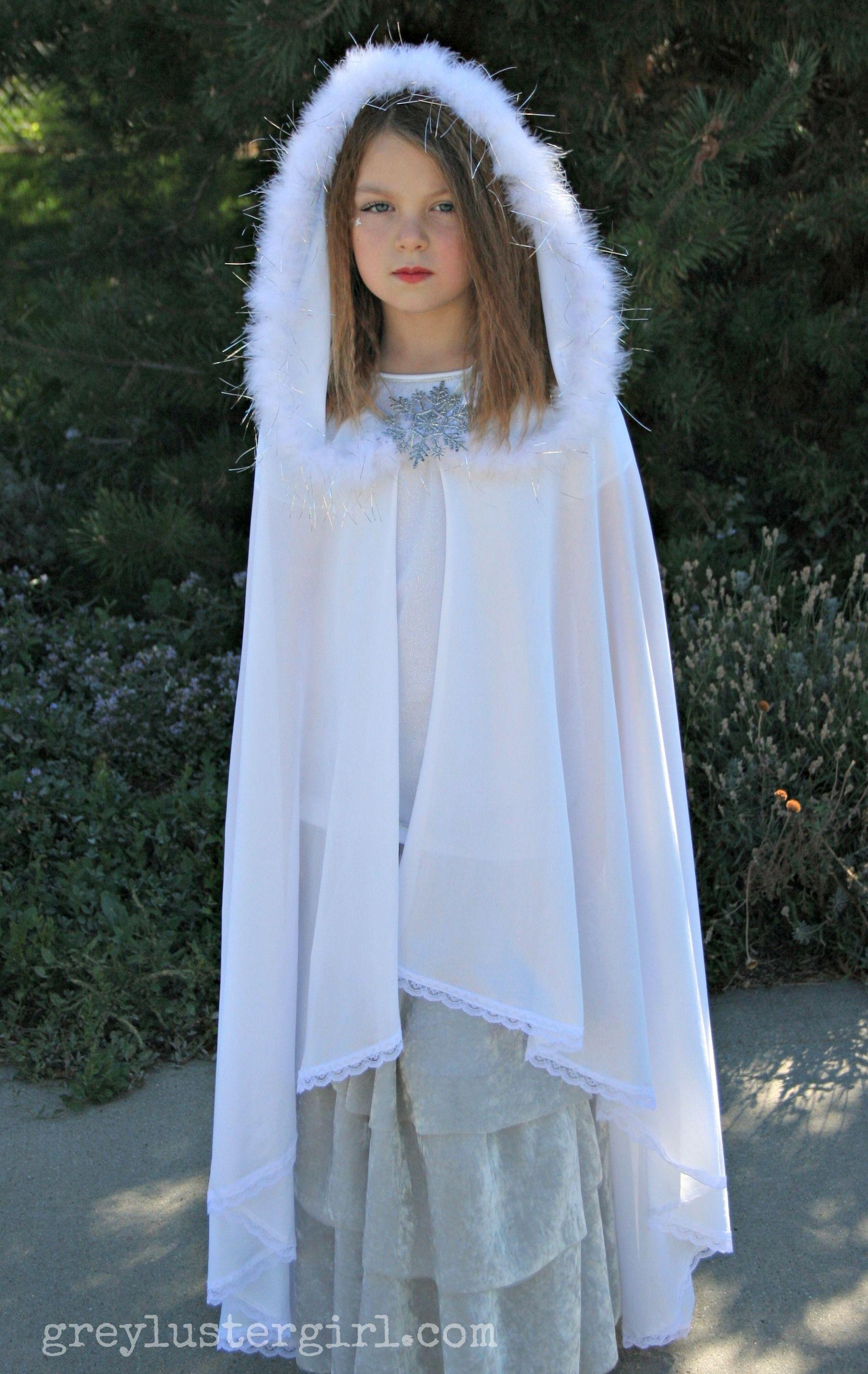 Kid Girl Hooded Princess Cape Coat Fur Cloak Christmas Party Costume Fancy Dress