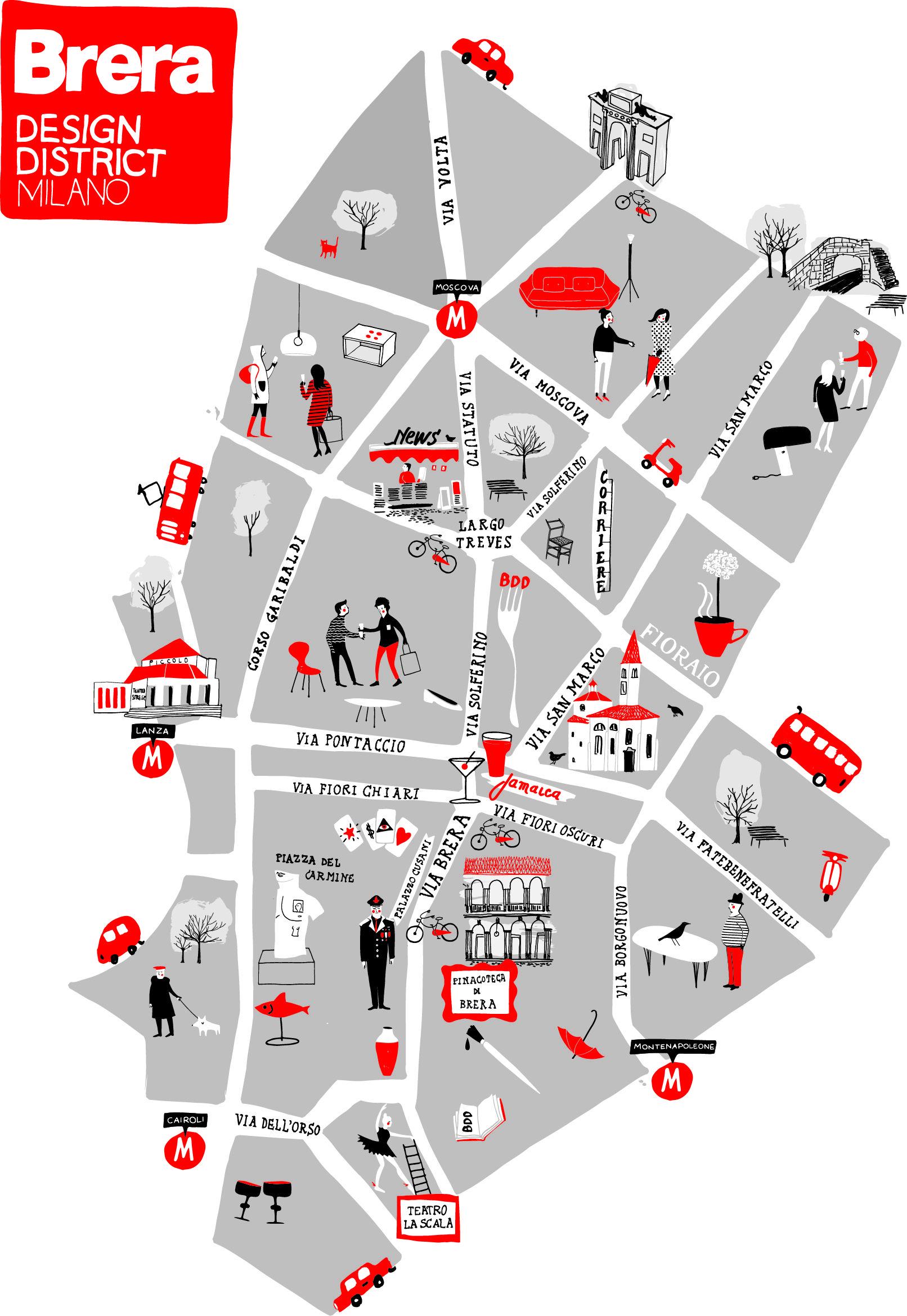 Milan map brera design district 2013 foto silvia gherra for Brera district