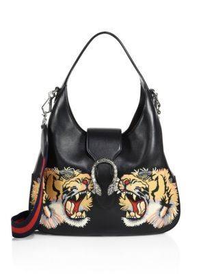 07ad567975a7a4 GUCCI Medium Dionysus Tiger-Embroidered Leather Hobo. #gucci #bags  #shoulder bags #hand bags #suede #hobo #lining #