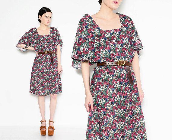 Medium to Large 80s Deep V Floral Romper Vintage Grunge Short Sleeve Playsuit