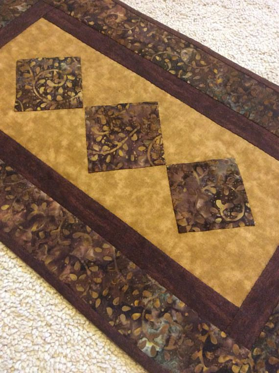 Brown Batik Table Runner, Brown Quilted Table Runner, Brown Table Runner,  Batik Table Runner, Hand Quilted Table Runner, Wall Hanging | Table Runners  ...