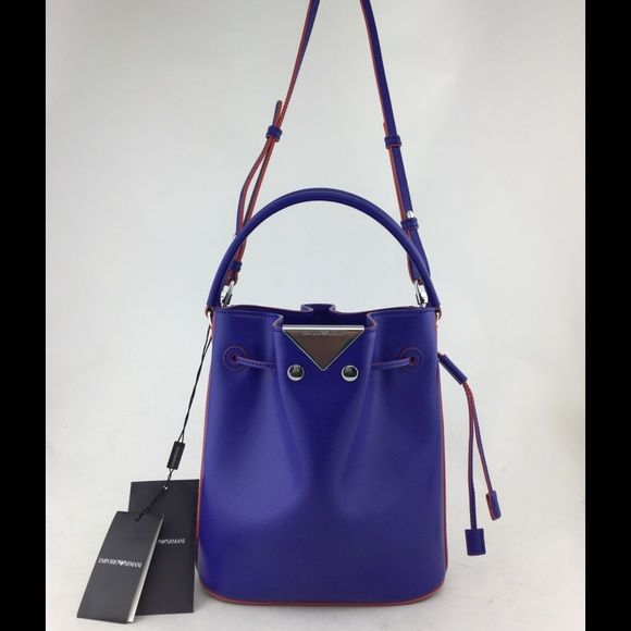 Emporio Armani Handbag This is a brand new royal blue leather Emporio  Armani bucket bag with 68fdaed4df