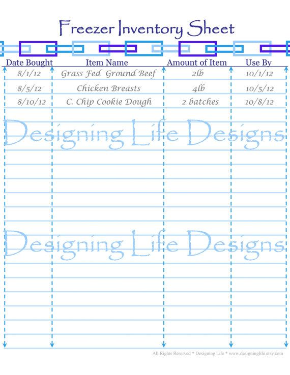 Freezer, Pantry, and Fridge Inventory Sheets - Printable PDF Pages - inventory sheets printable