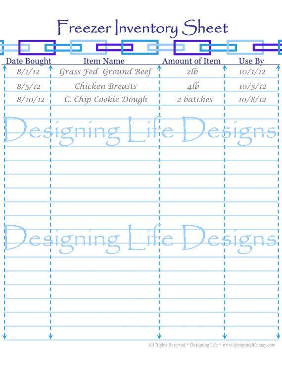 Freezer Inventory Sheet Printable Pdf For Menu 3 00 Never