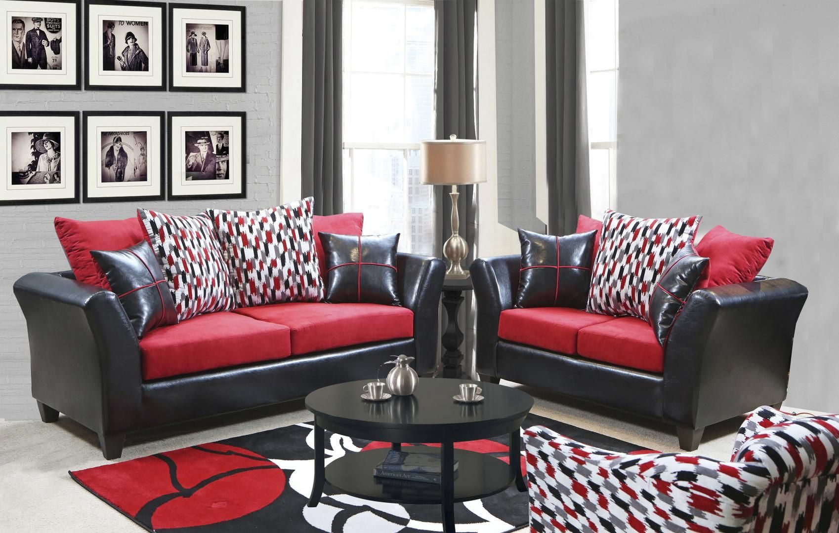 Chelsea Home Furniture 294bb2set 699 99 In 2020 Black And Red Living Room Living Room Decor Cozy Red Chair Living Room #red #and #black #living #room #furniture #sets
