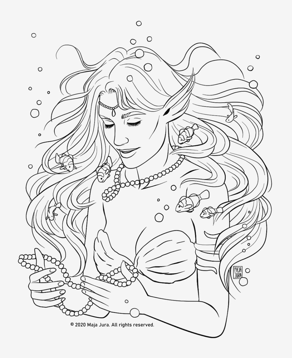 Mermaid Coloring Page Lineart Coloring Pages Premium Etsy Mermaid Coloring Pages Mermaid Coloring Fairy Coloring Pages