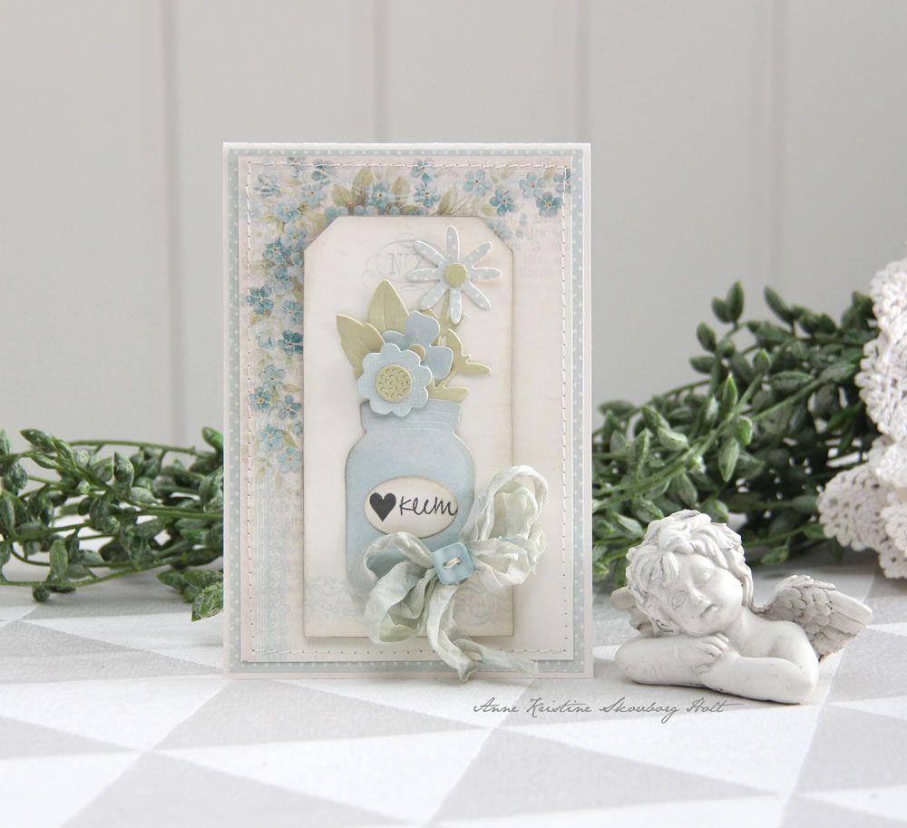 Et kort med nye Sizzix dies...likte godt dette settet med glasset og blomster.   Sizzix Thinlits Die Set 17PK - Garden Florals   Mønste...