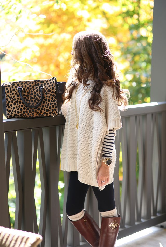40 Insanely Stylish Ways to Wear Leggings in winter | Ponchos ...