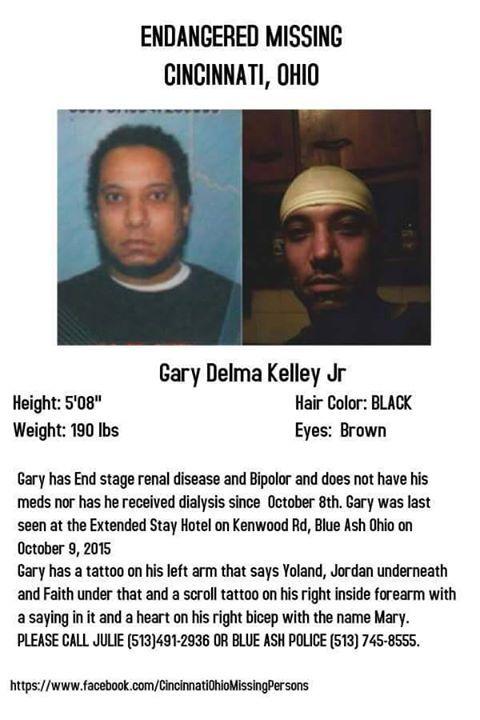 Gary Delma Kelley Jr ENDANGERED MISSING CINCINNATI, OHIO