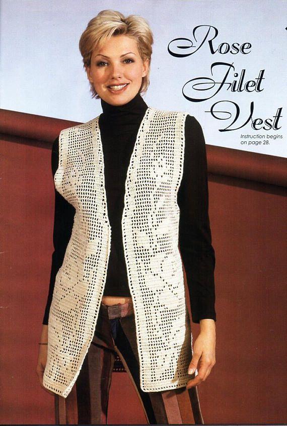 womens crochet rose filet vest crochet pattern pdf ladies crochet ...