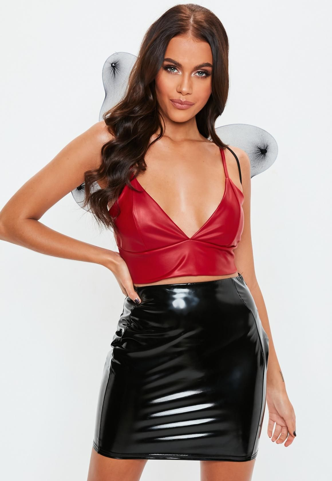 1716a9b55a Missguided - Red PU Cupped Bralet | Latex Outfit | Leather dresses ...