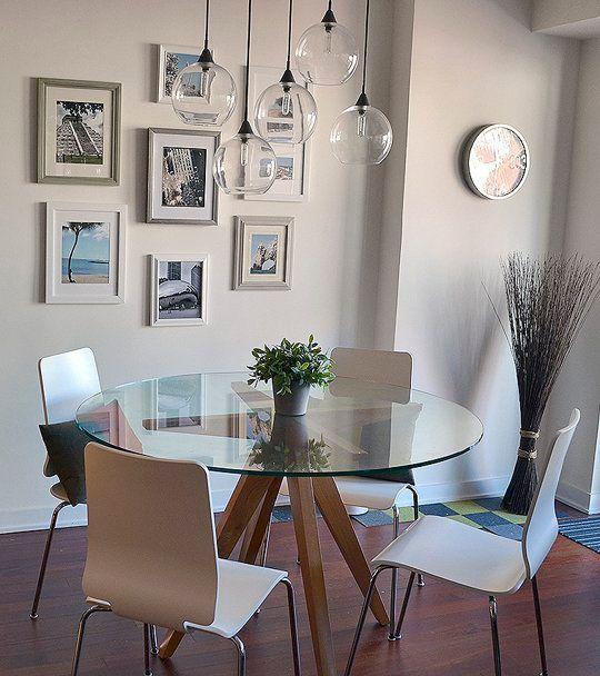 Mesa redonda de fresno americano con tapa de cristal - Cristales para mesas redondas ...