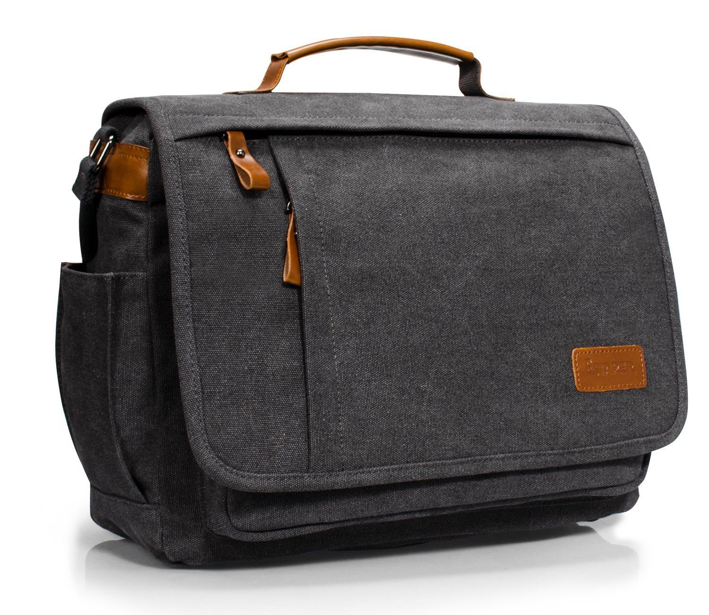 Estarer Mens 13.3 - 14 inch Laptop Bag Canvas Messenger Shoulder Bag for  Work University  d5ba61124e283