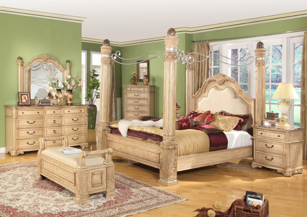 King Traditional Poster Canopy Bed w/ Leather 5 piece Bedroom Set w/ Marble Tops & King Traditional Poster Canopy Bed w/ Leather 5 piece Bedroom Set ...