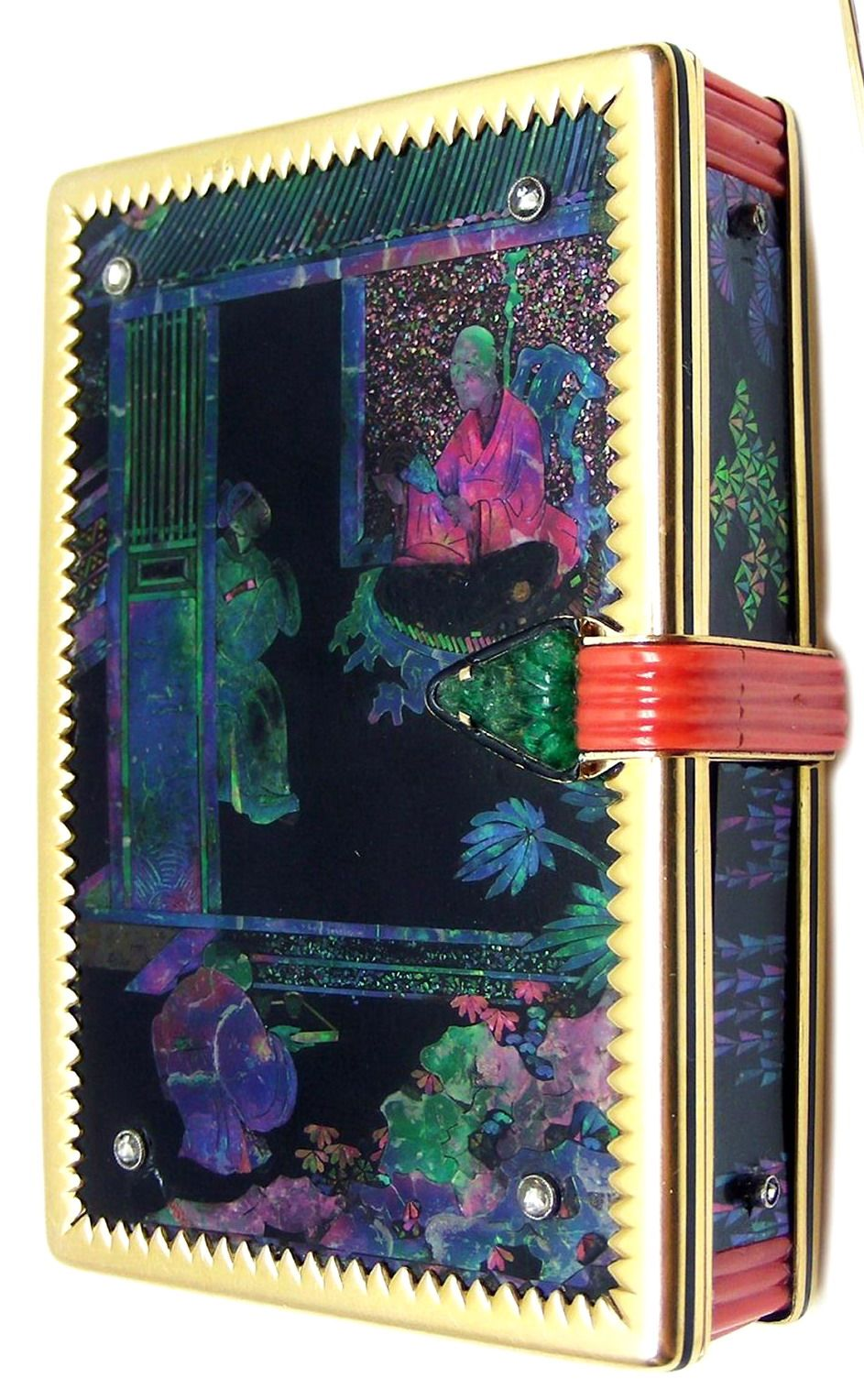 Art Deco lacquer, mother-of-pearl and diamond powder and lipstick box by Cartier, Paris c.1925