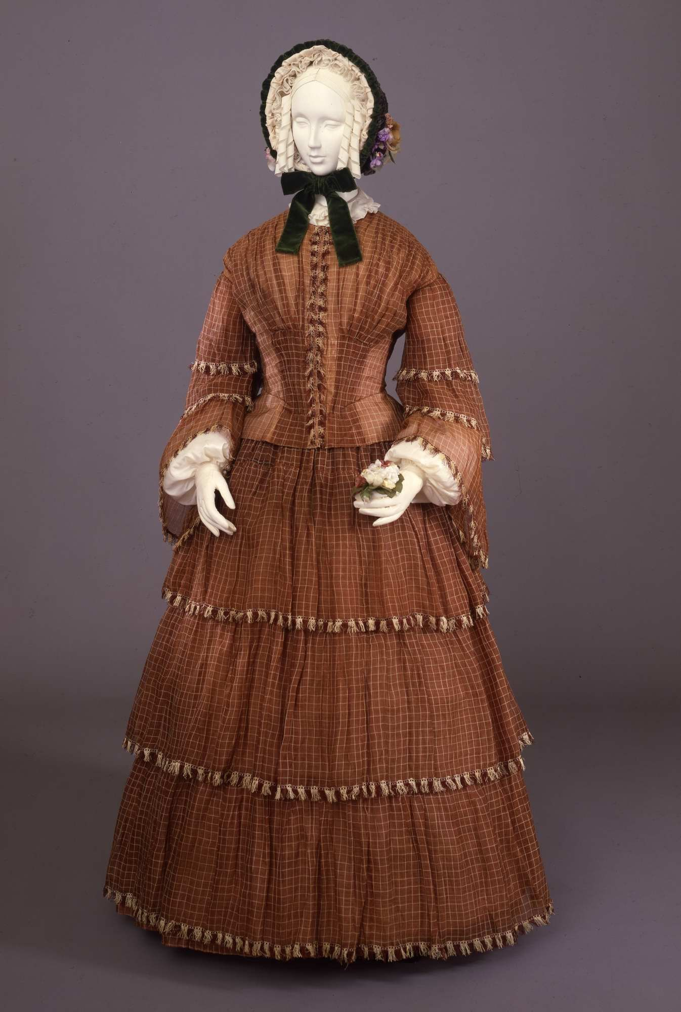 Day dress in checked cotton, ca. 1859 00000071