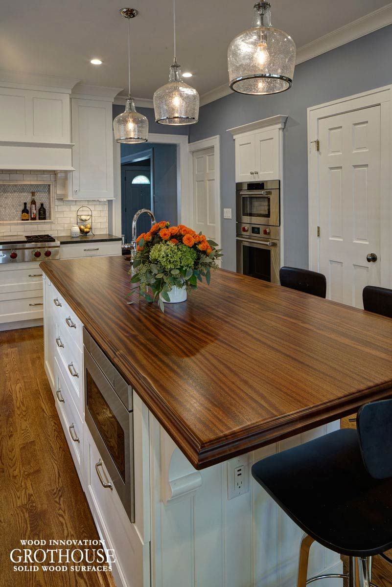 Superbe Distressed Sapele Mahogany Wood Countertop Custom Crafted For A Large Kitchen  Island In Glen Ellyn, Illinois Finished With A Hand Rubbed Black Glaze #wood