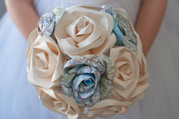 Map and Paper Flower Wedding Bridal 15 Rose Bouquet by DiddleBug, $108.00