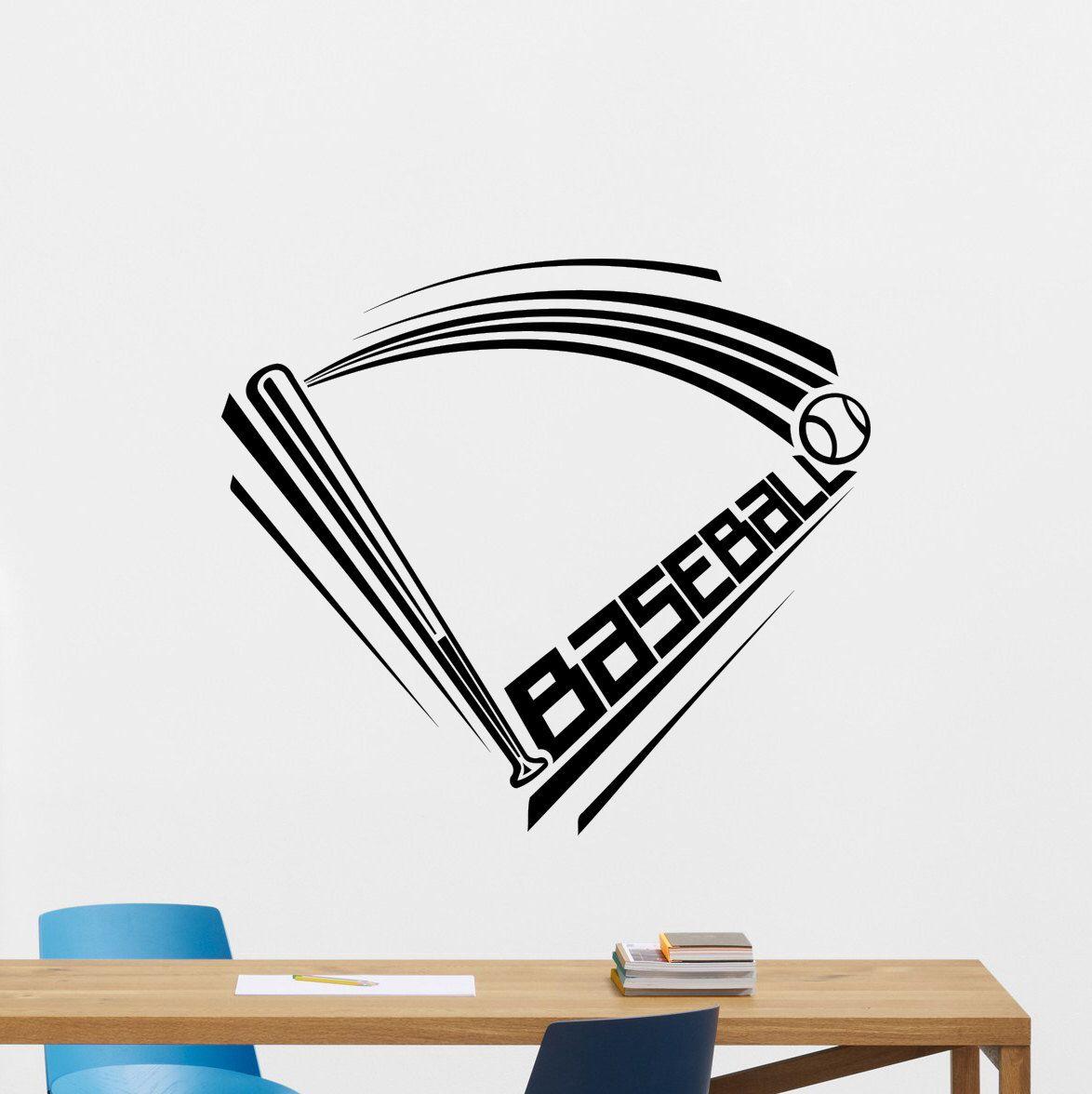 Baseball Player Sports Game Ball Bat Decor Wall Mural Vinyl Sticker i014