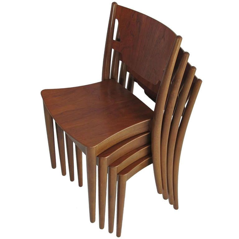 1stdibs | Four Stacking Chairs by Peter Hvidt for C.M Madsens ...