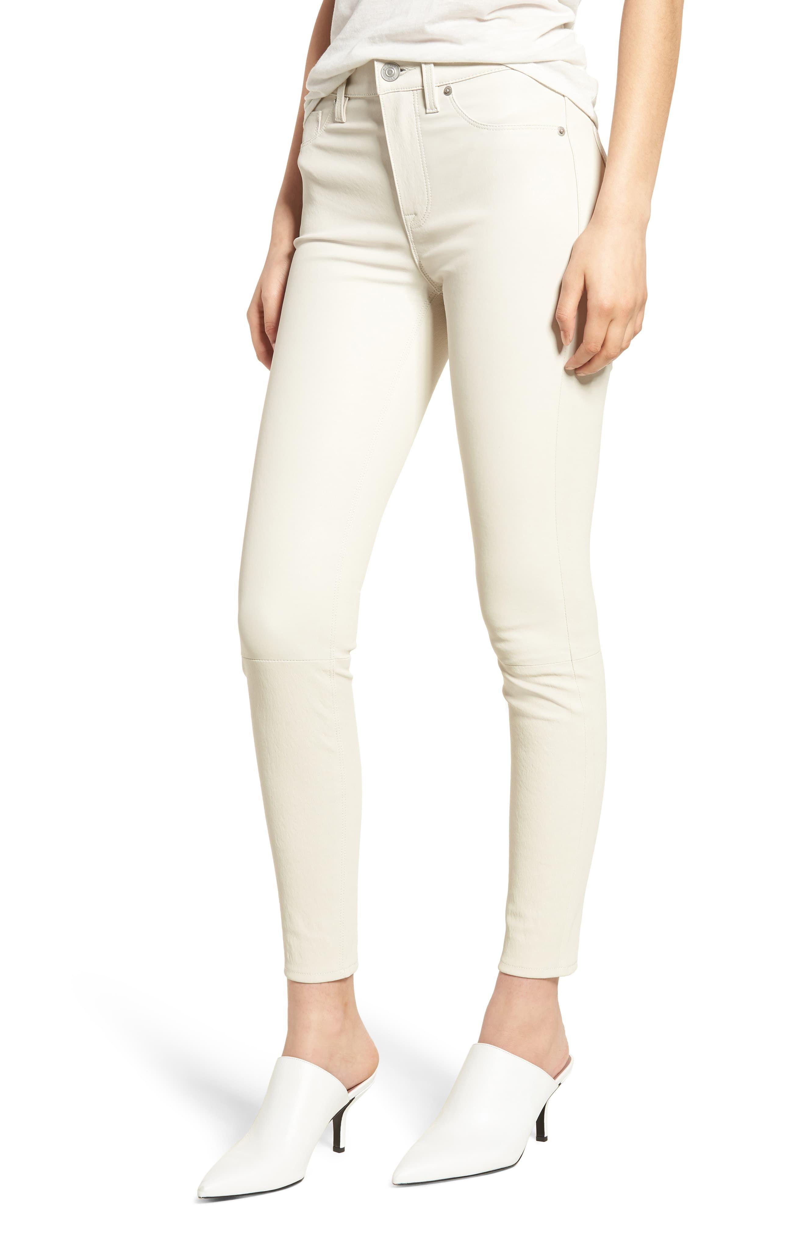 cb85b844e3b Women's Hudson Jeans Barbara High Waist Super Skinny Leather Jeans, Size 27  - White