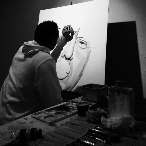 "Artist J. Taylor in the studio preparing for his upcoming exhibit ""Grey Area"".  #ArtByJTaylor"
