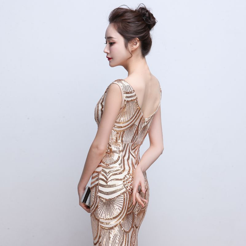 100 Real Image Long Evening Gowns Gold Sequined Bling Trumpet Prom ...