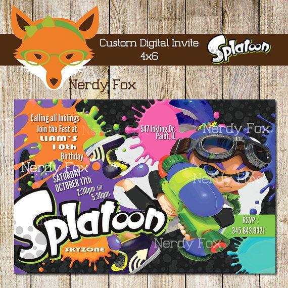 splatoon boy inkling custom digital invite by nerdyfox on etsy
