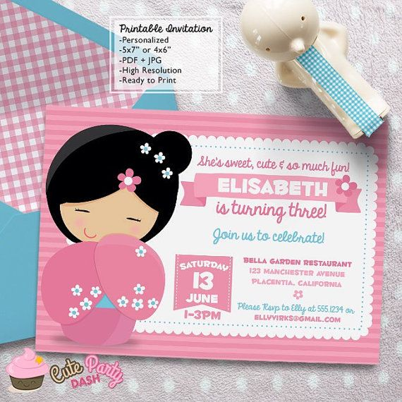 Kokeshi Doll Birthday Party invitations DIY by CutePartyDash – Japanese Birthday Invitations