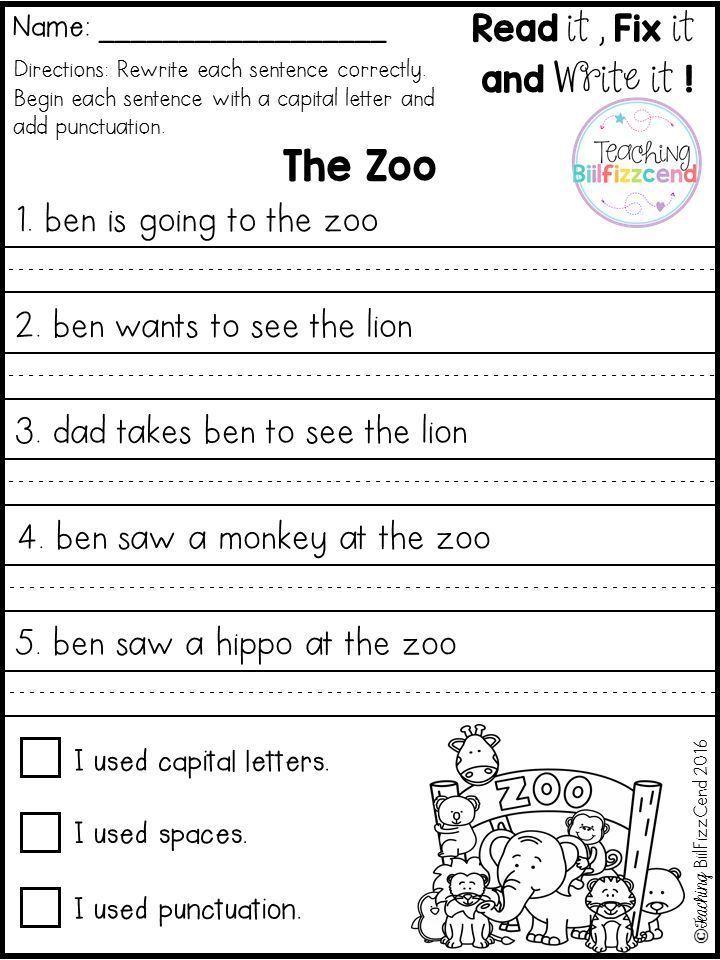FREE Fix It Up Sentences 1st Grade Writing Worksheets, 1st Grade Writing,  Kindergarten Writing