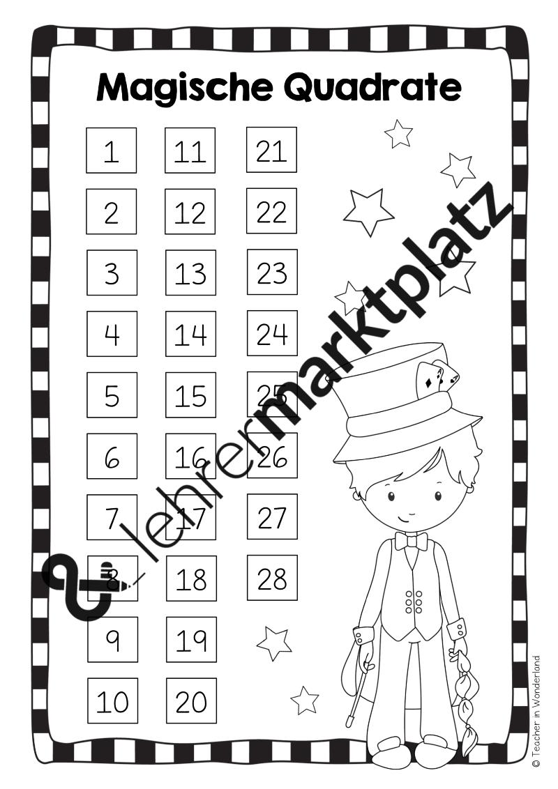 Magische Quadrate für den Zahlenraum bis 20, bis 100 und bis 1000 ...