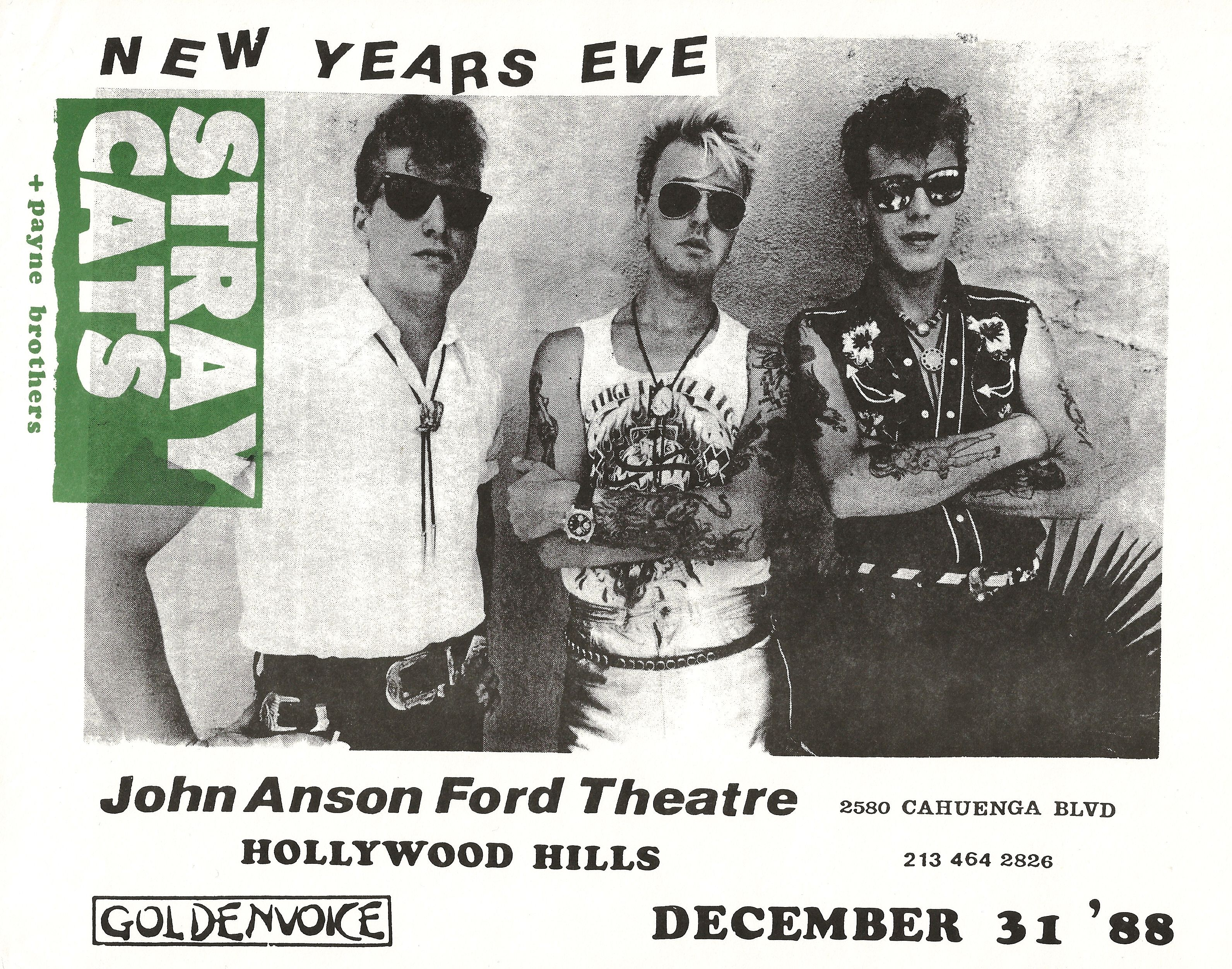 Stray Cats 1988 Southern California Poster