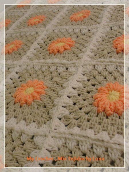Daisies Squares Blanket | sobrecamas | Pinterest | Colchas y Tejido