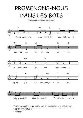 Téléchargez la partition gratuite de la chanson Promenons ...
