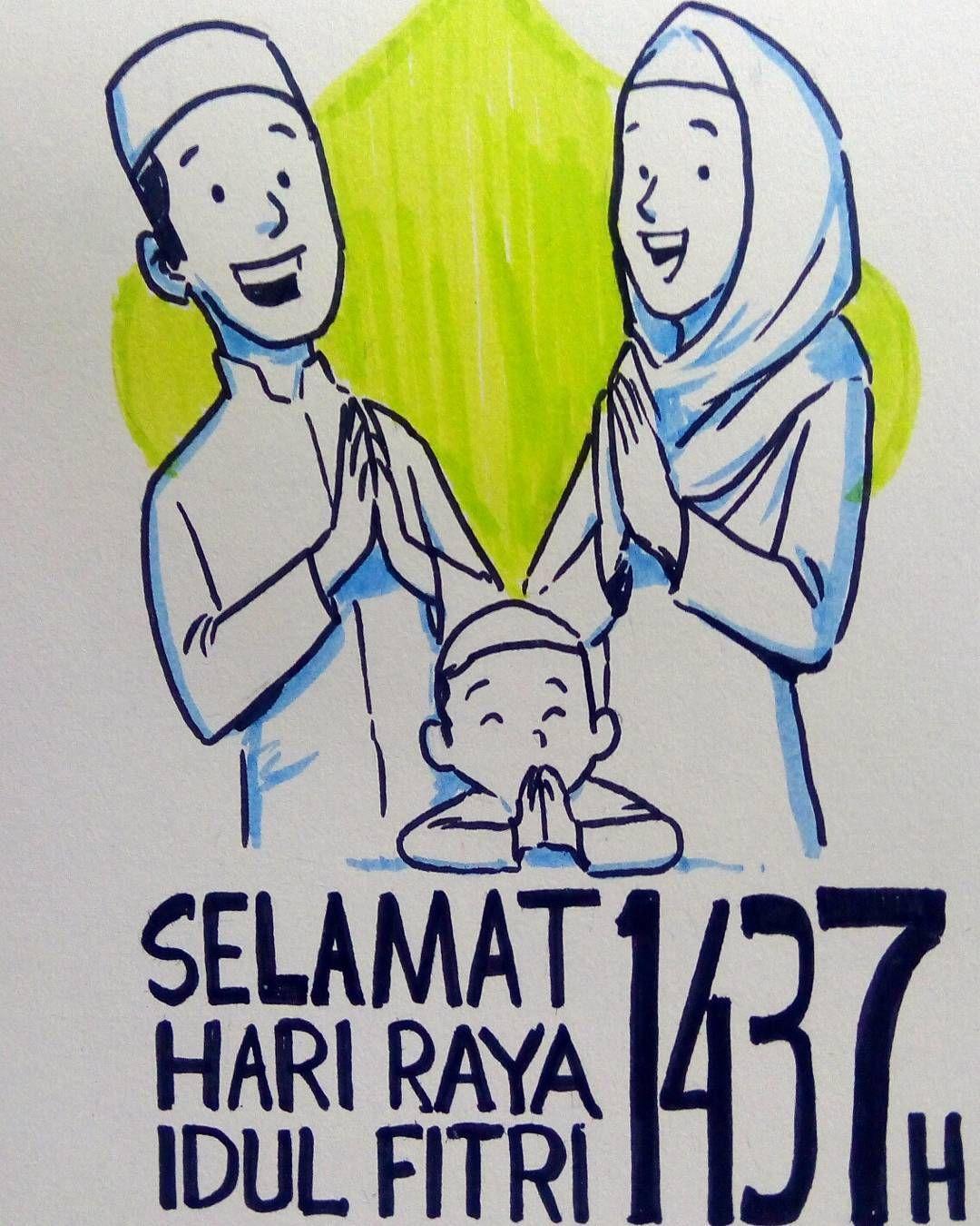 Gambar Kartun Keluarga Idul Fitri Seribu Animasi
