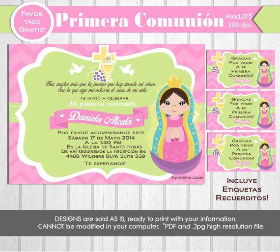 invitaciones de primera comunion de virgencita