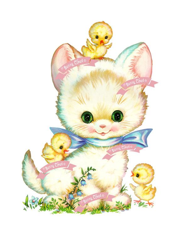 Vintage Digital download Sweet Kitty Vintage by TheBunnyCloud, $3.25