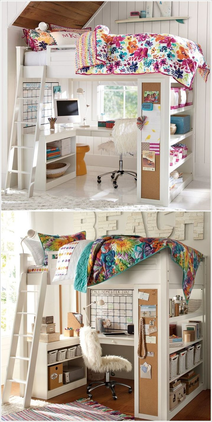 Amazing kids 39 room loft bed small kidsroom small space Kid room ideas for small spaces