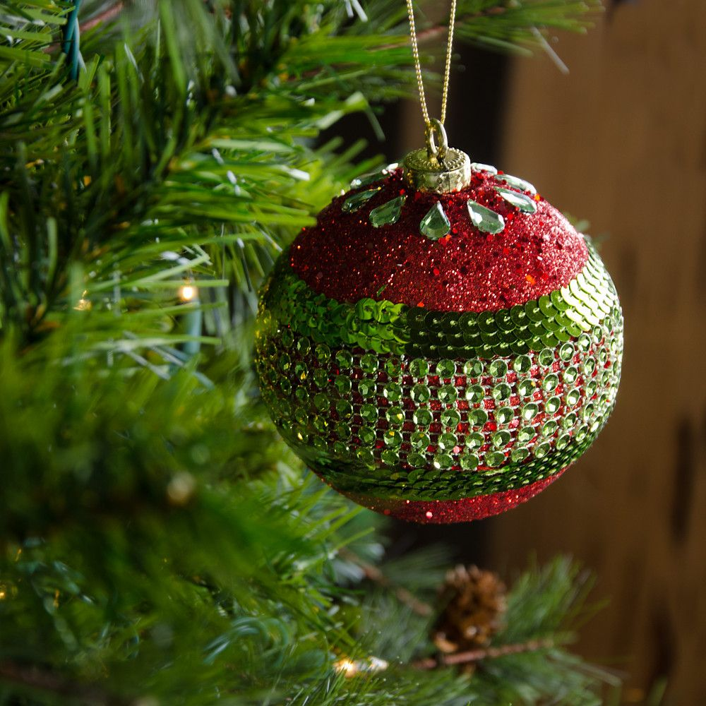 100mm Round Ball Ornaments Set Of 4 Red Lime Green Glitter Stripe 22349 Redgrn Christmas Ornaments Homemade Christmas Gift Decorations Homemade Christmas Ornaments Diy