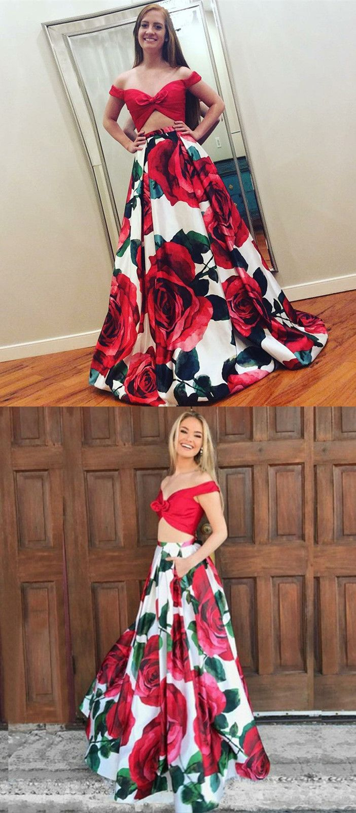 Two piece offtheshoulder red floral satin prom dress clothes