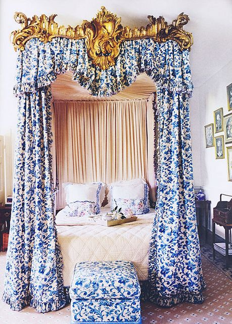 in the bedroom : blue & white and gilded/super glam