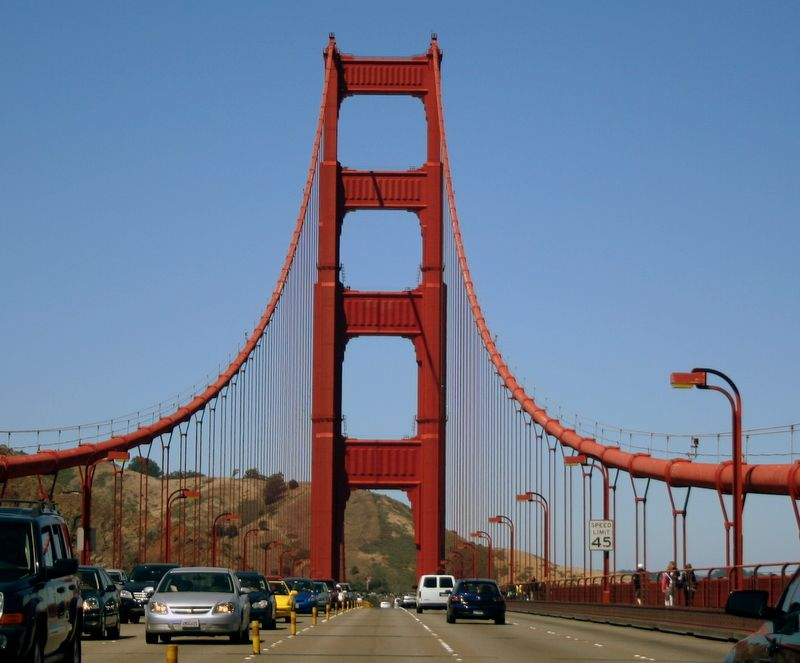 Picture of moby dick by the golden gate bridge
